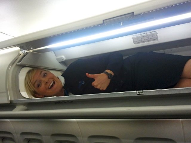 Overhead bin on an airplane