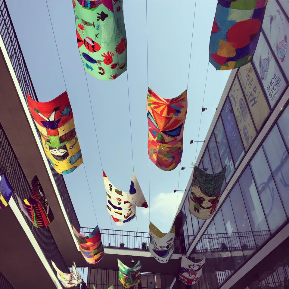 Children's art displayed in Insadong district.